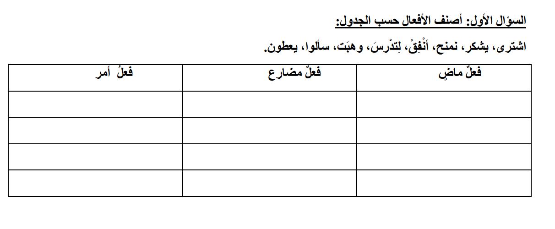 عربي أوراق عمل ذهبية في الأفعال