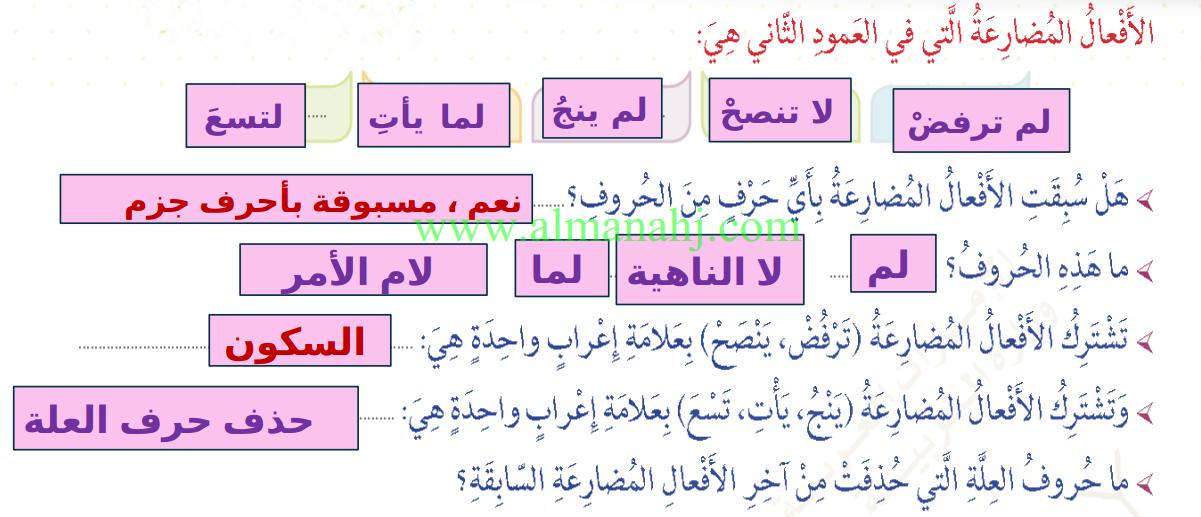 عربي جزم الفعل المضارع