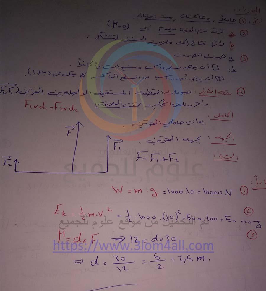 اسئلة حماه تاسع علوم عامة 2018 مع الحل