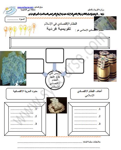 تربية إسلامية ورقة عمل درس النظام الاقتصادي في الإسلام