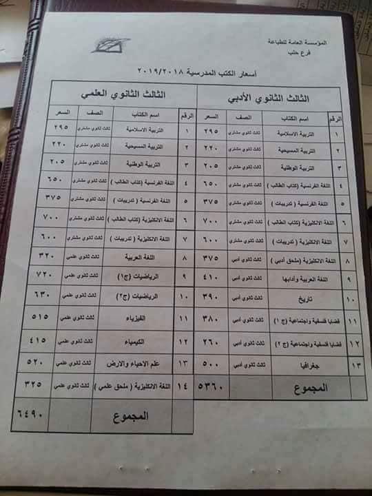 أسعار الكتب المدرسية الجديد الصف الثالث الثانوي بكالوريا 2018- 2019( سوريا )