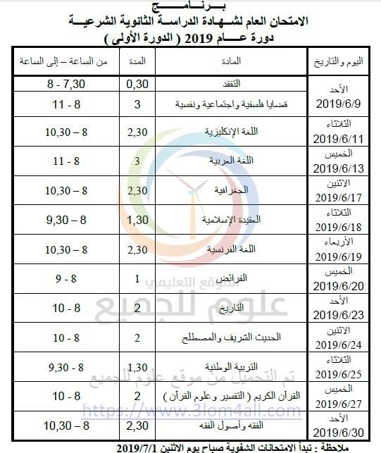 البكالوريا 2019 سوريا - برنامج امتحان البكالوريا سوريا 2019 الشهادة الثانوية