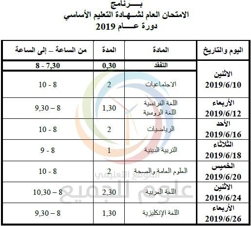 برنامج فحص التاسع 2019 سوريا - البرنامج الامتحاني لشهادتي التعليم الأساسي والإعدادية الشرعية لعام 2019