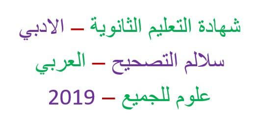 سلم تصحيح اللغة العربية بكالوريا ادبي 2019 الدورة الثانية التكميلية