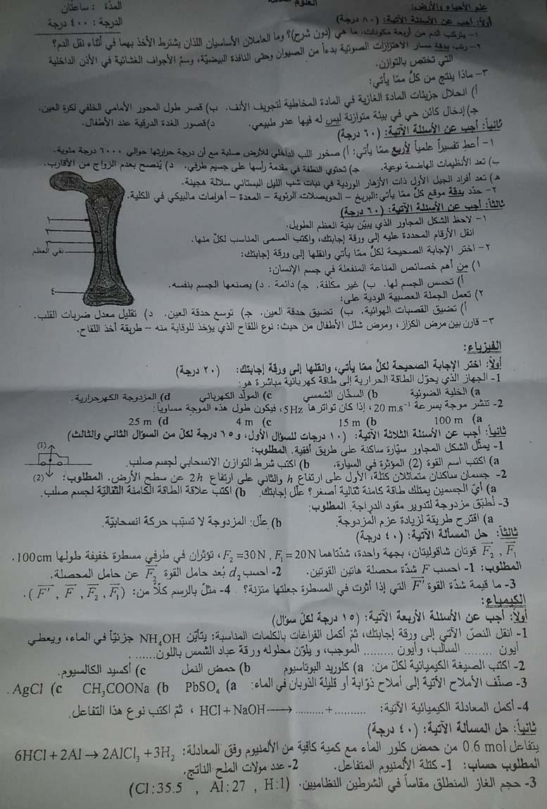 حماه اسئلة الامتحان النهائي التاسع 2019 - ورقة الامتحان بالمحافظات