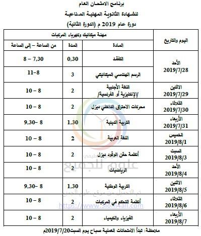 برنامج الدورة الثانية البكالوريا 2019 في سوريا