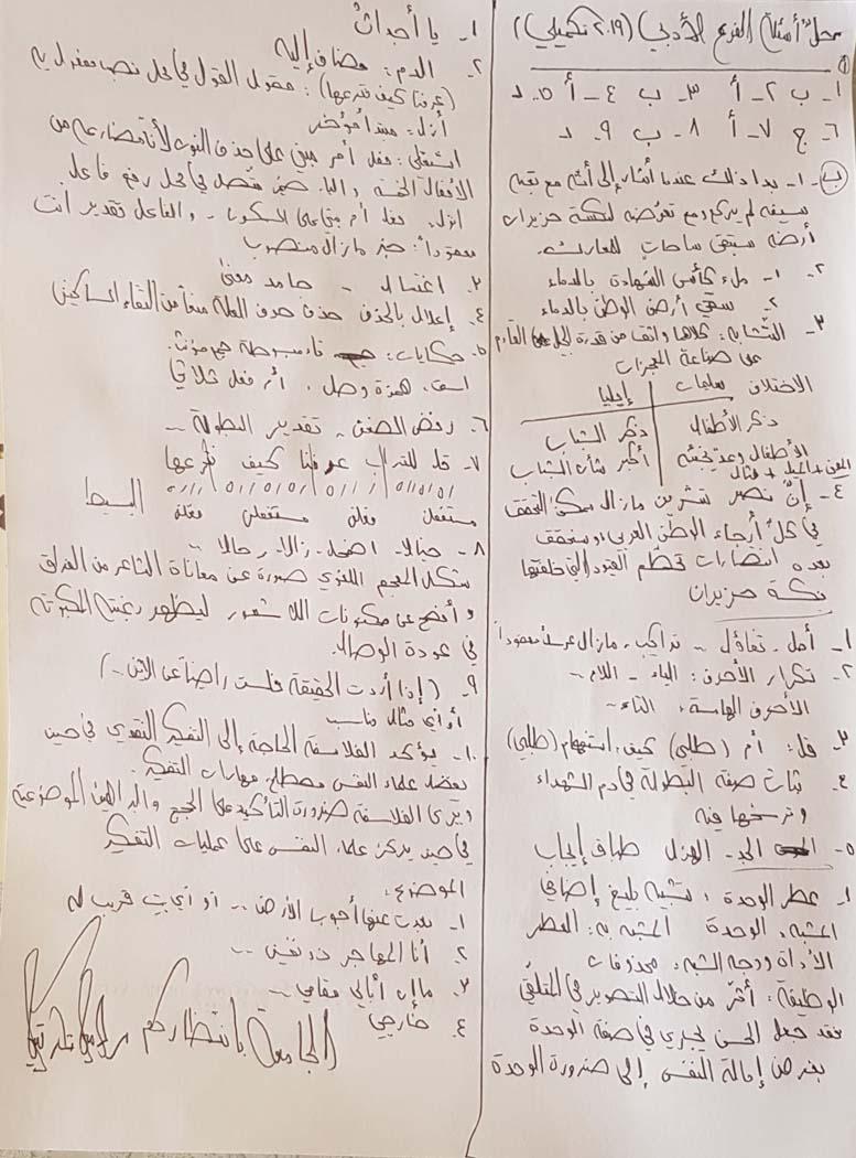 أسئلة العربي التكميلي 2019 الفرع العلمي والأدبي مع الحل