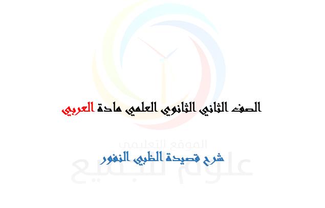 الصف الحادي عشر العلمي  اللغة العربية شرح قصيدة الظبي النفور