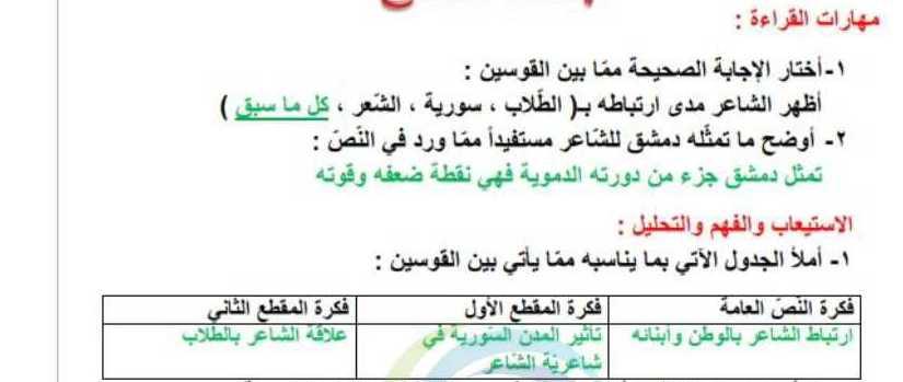 الصف السابع اللغة العربية حل درس شاعر ووطن
