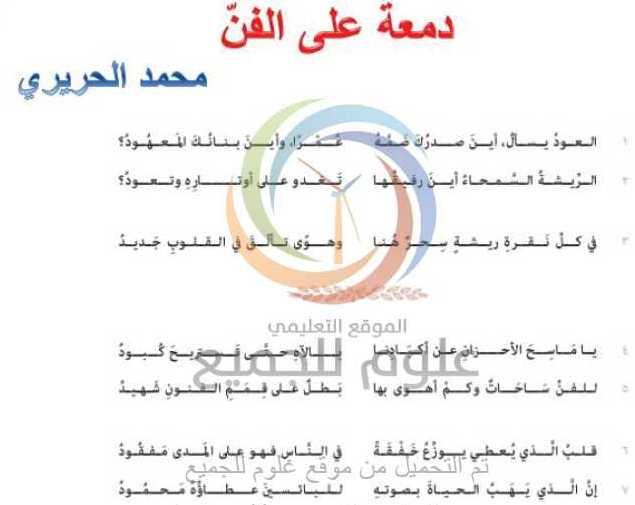 الصف السابع  اللغة العربية شرح قصيدة دمعة على الفن