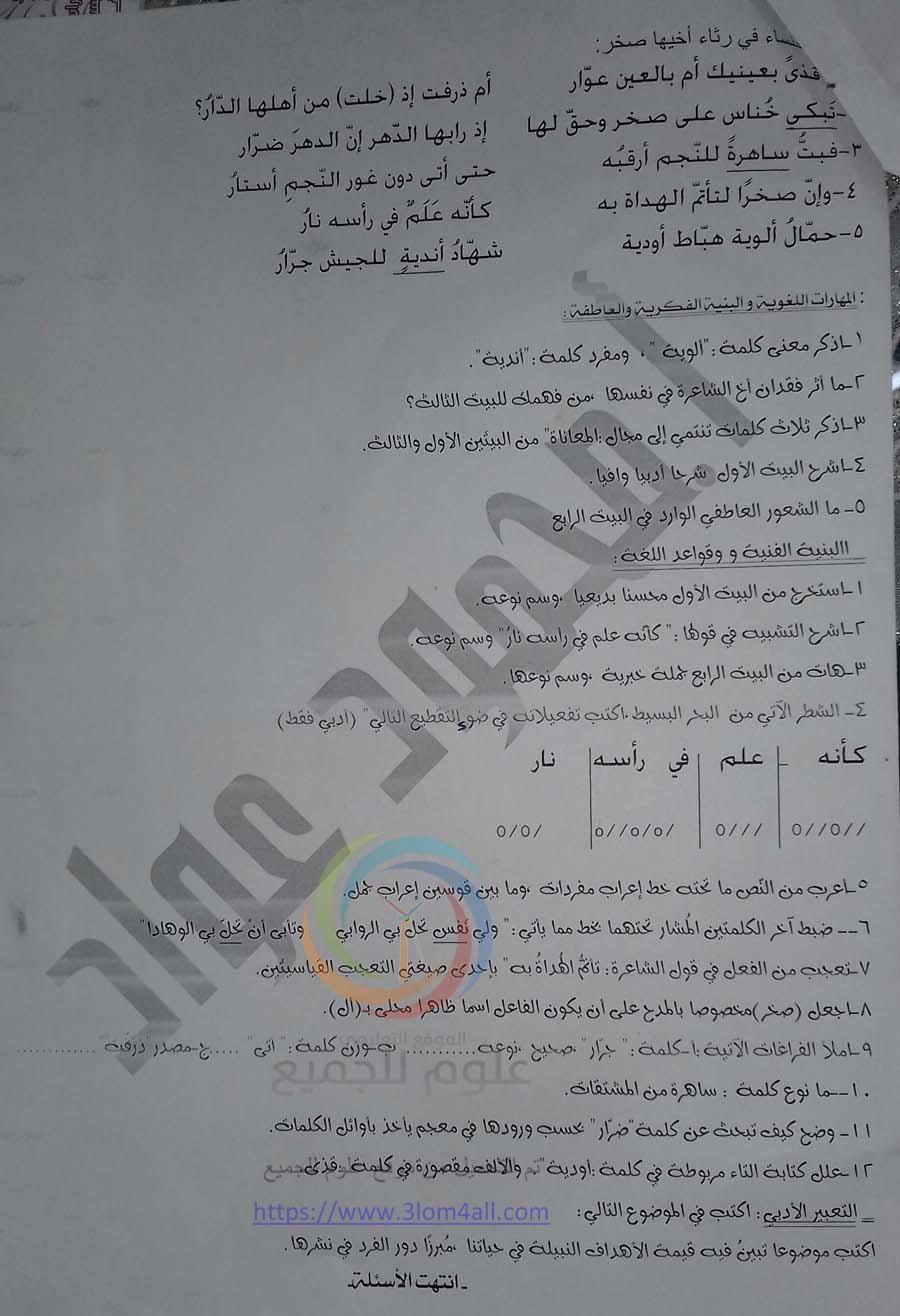 نماذج ودروس سريعة للتحضير لامتحان اللغة العربية - سبر الترشح للبكالوريا الحرة