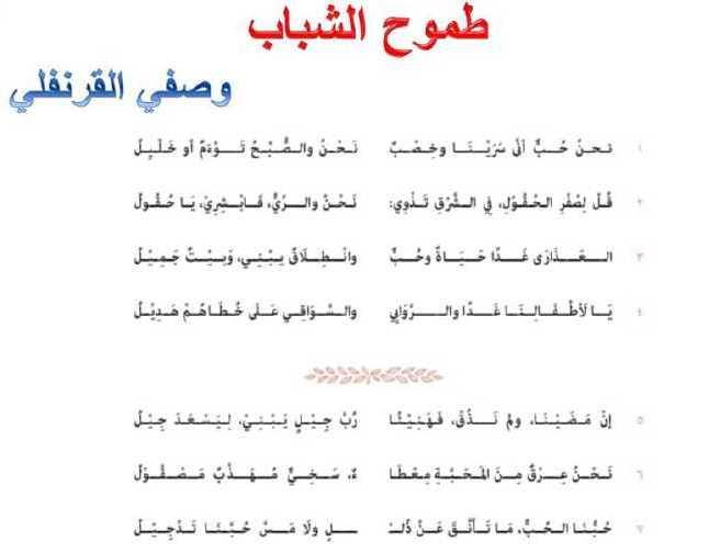الصف السابع اللغة العربية شرح و اعراب قصيدة طموح الشباب