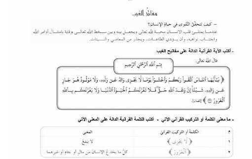 البكالوريا التربية الاسلامية أوراق عمل الدرس الأول و الثاني
