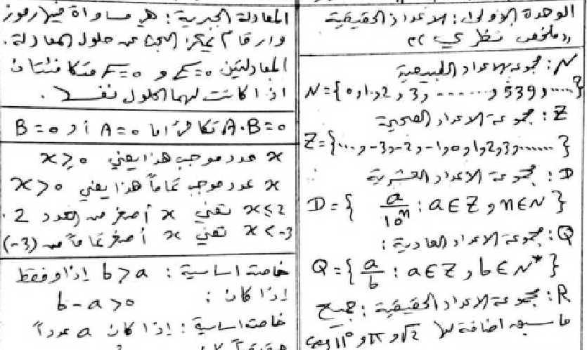 الصف العاشر  الرياضيات حل وشرح الوحدة الاولى جبر