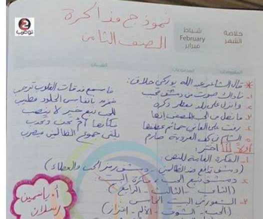 الصف الثامن اللغة العربية مذاكرة الوحدة الاولى و الثانية
