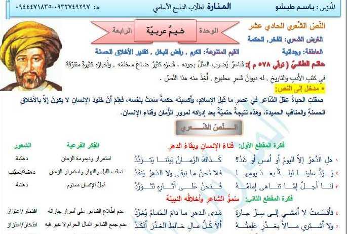 التاسع اللغة العربية قصيدة شيم عربية