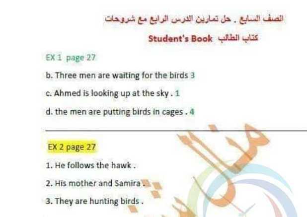 الصف السابع اللغة الانكليزية حل تمارين  الدرس الرابع