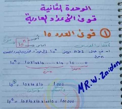الصف الثامن رياضيات شرح درس قوى الأعداد العاديه