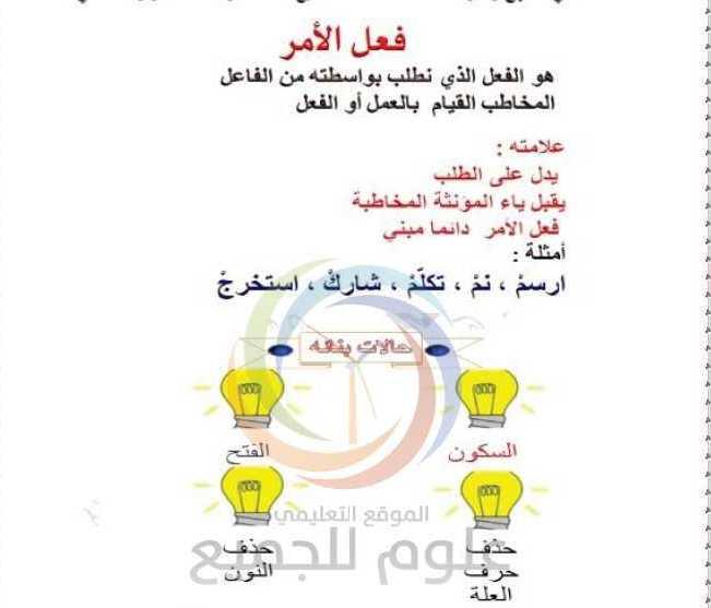 الصف السابع اللغة العربية درس فعل الأمر