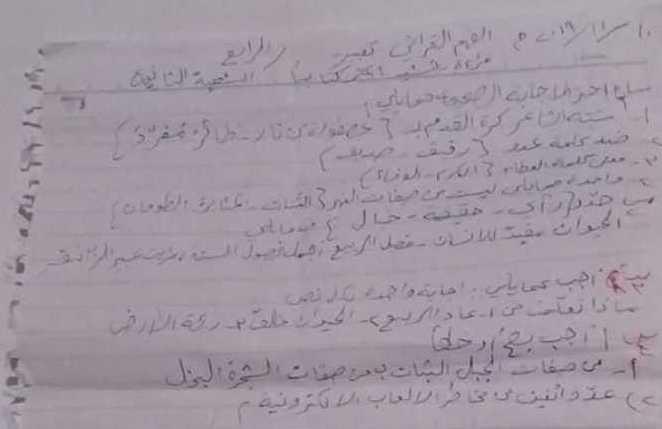الصف الرابع اللغة العربية نموذج مذاكرة