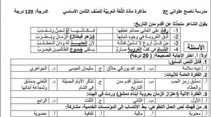 الصف الثامن اللغة العربية نماذج اختبارات