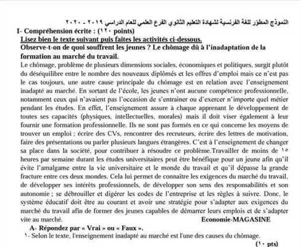 البكالوريا العلمي  اللغة الفرنسية النموذج الوزاري