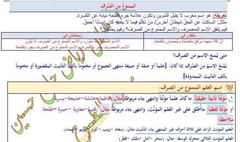 التاسع اللغة العربية حل درس الممنوع من الصرف