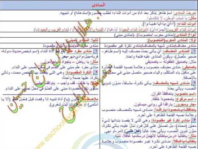 التاسع اللغة العربية حل درس المنادى