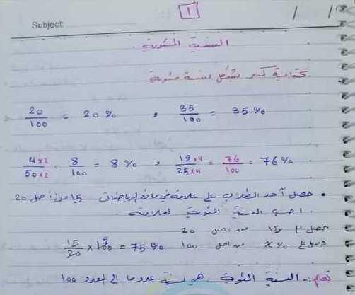 الصف السابع الرياضيات درس النسبة المئوية