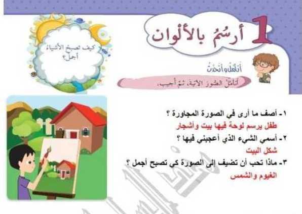 الصف الاول اللغة العربية حل درس أرسم بالألوان