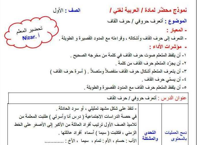 الصف الاول اللغة العربية تحضير تجريد حرف القاف