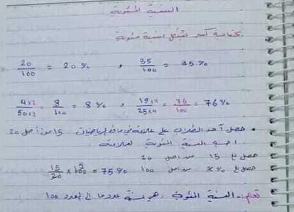 الصف السابع الرياضيات حل اسئلة درس النسبة المئوية