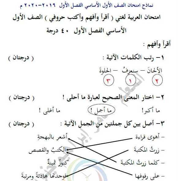 الصف الأول جميع المواد نماذج امتحانات