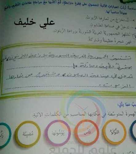 الصف الثالث اللغة العربية حل تدريبات وحدة أماكن من بلدي