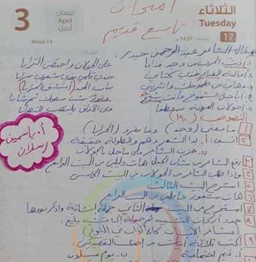 الصف التاسع اللغة العربية نموذج امتحاني