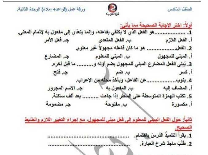 الصف السادس اللغة العربية ورقة عمل قواعد و إملاء الوحدة الثانية