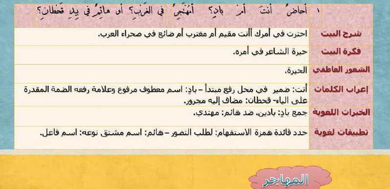 البكالوريا اللغة العربية تطبيقات قصيدة المهاجر