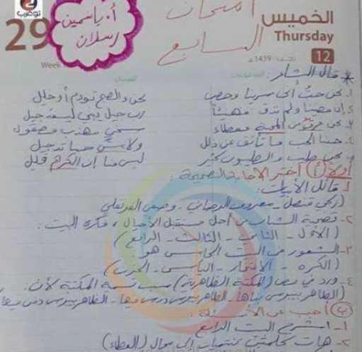 الصف السابع اللغة العربية نموذج امتحان نصفي