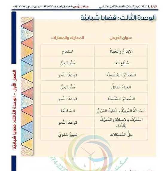 الصف الثامن اللغة العربية حل الوحدة الثالثة كاملة