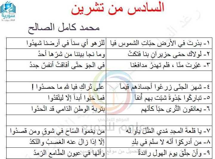 التاسع اللغة العربية تطبيق قصيدة السادس من تشرين