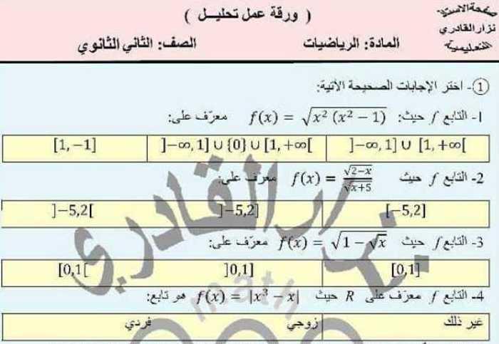 الصف الحادي عشر العلمي الرياضيات ورقة عمل تحليل