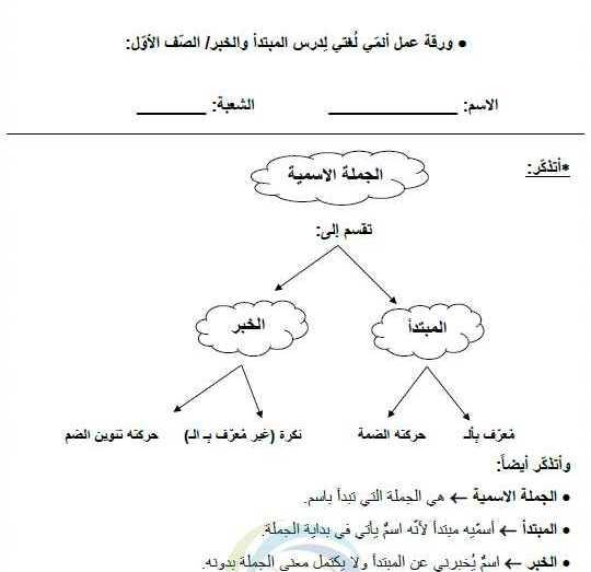 الصف الأول اللغة العربية أوراق عمل