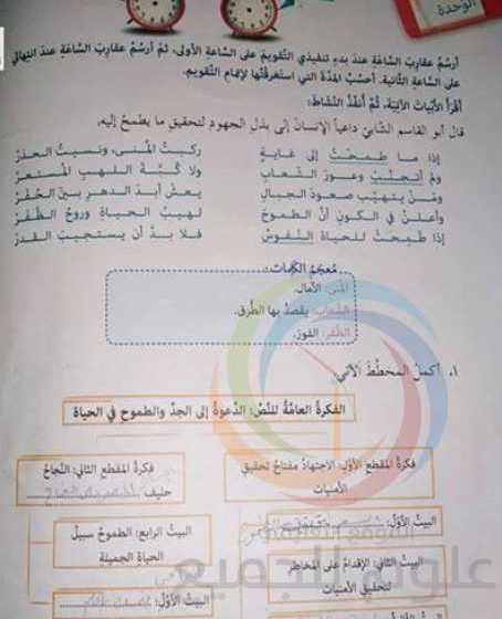 الصف السادس اللغة العربية حل تقويم الوحدة الثالثة