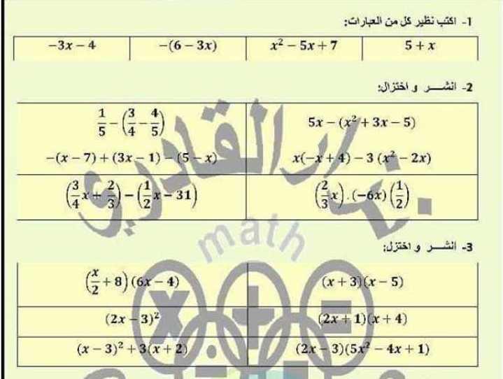 الصف الثامن الرياضيات ورقة عمل للوحدة الثالثة جبر