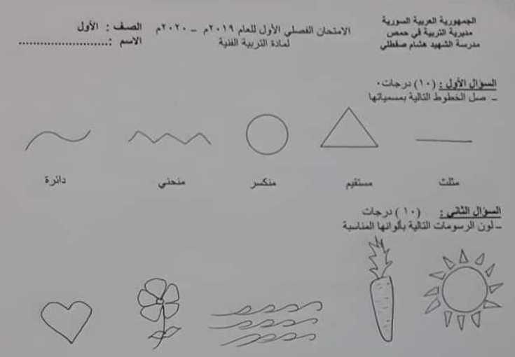 الصف الأول الرسم نموذج امتحان