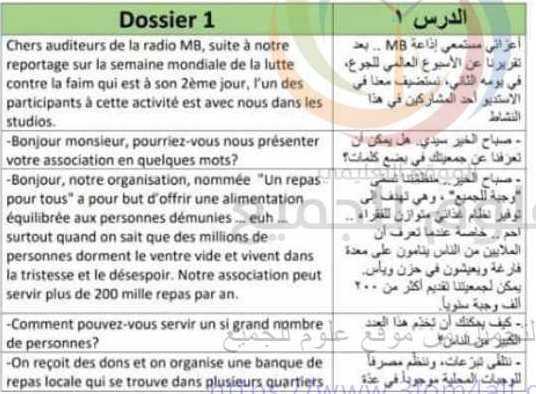 التاسع اللغة الفرنسية  نصوص الاستماع مع الترجمة