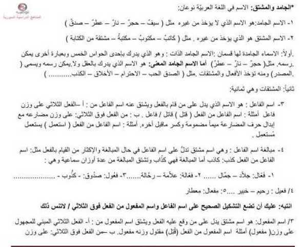 البكالوريا اللغة العربية الجامد والمشتق