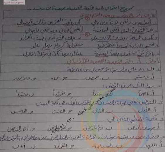 الصف الثامن اللغة العربية نموذج الامتحان النصفي