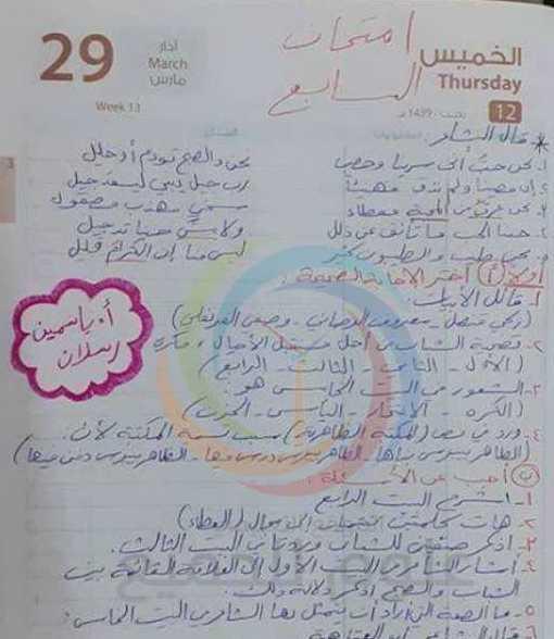 الصف السابع اللغة العربية نموذج للامتحان النصفي
