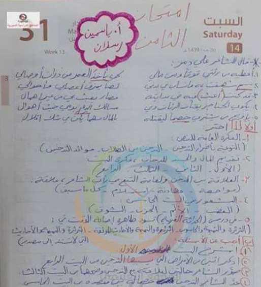 الصف الثامن اللغة العربية نموذج للامتحان النصفي
